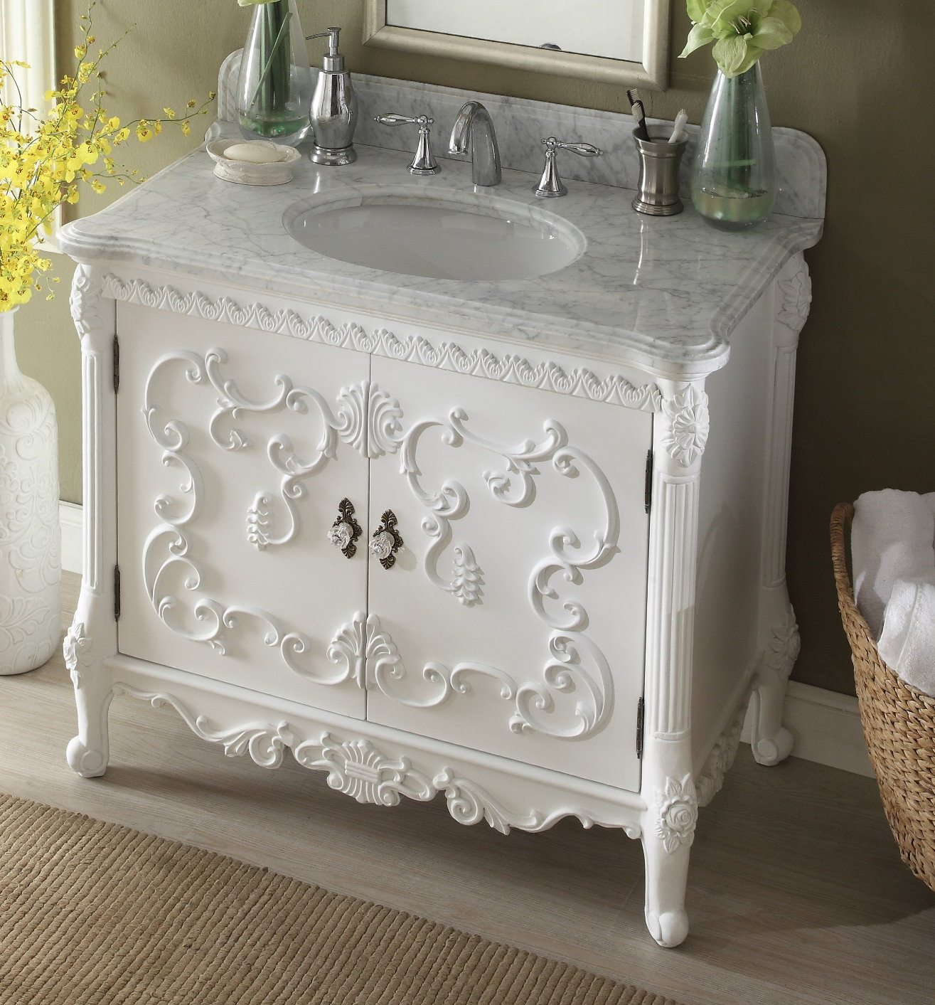 40 Inch Bathroom Vanity French Baroque Vintage White Color 40 Wx23 Dx34 H Chf1091a