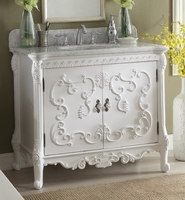 "40 inch Bathroom Vanity French Baroque Vintage White Color (40""Wx23""Dx34""H) CHF1091A"