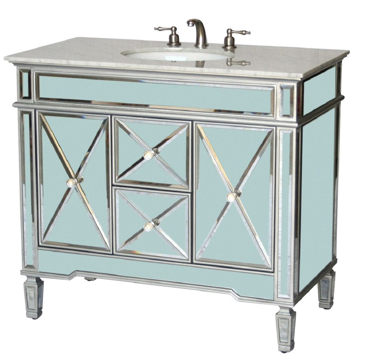 40 Inch Bathroom Vanity Art Deco Mirrored Style Silver Trims Carrara Top 40 Wx22 Dx36 H S5092