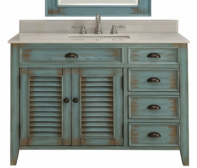 "42"" inch Bathroom Vanities Coastal Cottage Beach Style Distressed Teal Blue Color (42""Wx21.5""Dx34""H) CCF78888BU"