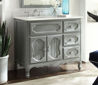"42 inch Bathroom Vanity Grey Cottage Beach Style Victorian Gray (42""Wx21""Dx35""H} CGD1509CK42"