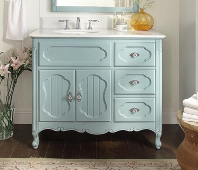 "42 inch Bathroom Vanity Cottage Beadboard Style Light Blue Color (42""Wx21""Dx35""H) CGD1509BU42C"