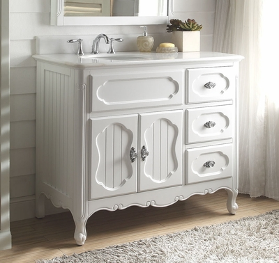"42 inch Bathroom Vanity Cottage Beadboard Style White Color (42""Wx21""Dx35""H) CGD1509W42"