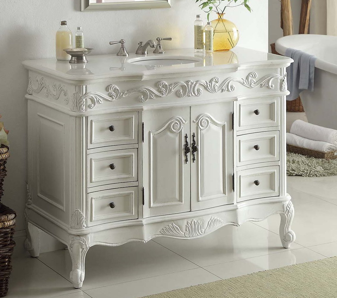 42 inch bathroom vanity classic traditional style antique white finish 42 wx22 dx37 h for Bathroom vanities vintage style