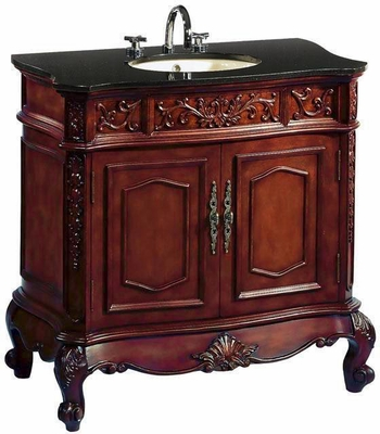 43 inch Bathroom Vanity Traditional Classic Cherry Cabinet Black Top CQ02143GT