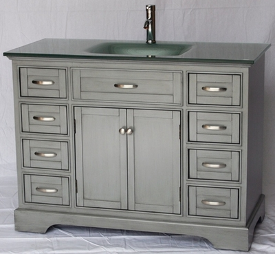 "46 inch Bathroom Vanity Cottage Beach Style Glass Top Shaker Gray Color (46""Wx21""Dx35"") HS2422"