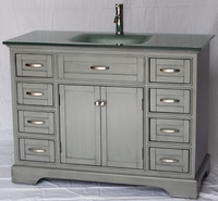 "46 inch Bathroom Vanity Cottage Beach Style Glass Top Shaker Gray Color (46""Wx21""Dx35H"") HS2422"