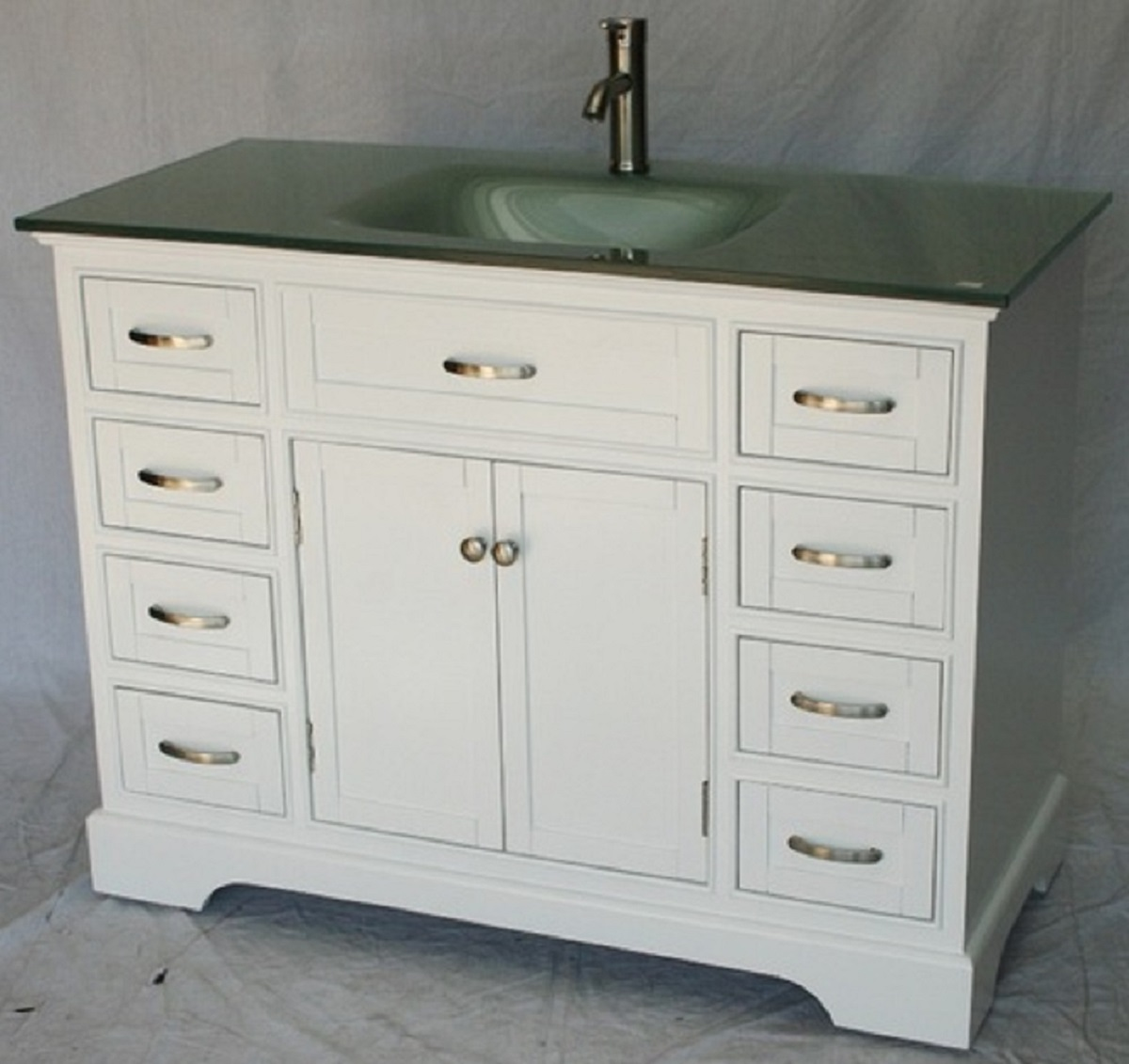 46 inch bathroom vanity transitional shaker white color with glass top 46 wx21 dx35 h s2422w. Black Bedroom Furniture Sets. Home Design Ideas