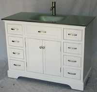 "46 inch Bathroom Vanity Transitional Shaker White Color with Glass Top (46""Wx21""Dx35""H) S2422W"