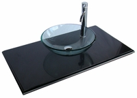 "46 inch Bathroom Vanity Vessel Sink Top Modern Style Mat Black Color (46""Wx20.5""Dx31""H) CQ0778G"