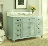 "48 inch Bathroom Vanity Cottage Coastal Beach Style Aqua Green Color (48.5""Wx22""Dx34""H) CGD28328BU"