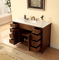 "48"" Bathroom Vanity Coastal Cottage Beach Style Walnut Color 48""W x 21""D x 35""H S112848SK"
