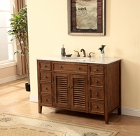 "48"" Bathroom Vanity Coastal Cottage Beach Style Medium Brown Color 48""W x 21""D x 35""H S112848SK"