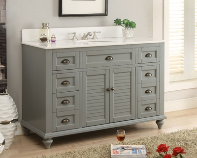 "49""W x 22""D x 35""H Bathroom Vanity Cottage Beach Style Gray Color CGD28329CK"