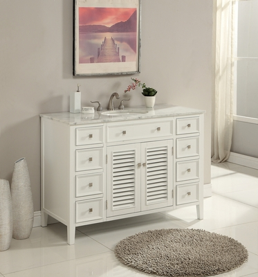 "48 inch Bathroom Vanity Coastal Cottage Beach Style Pure White Color (48""Wx21""Dx35""H) S112848WK"
