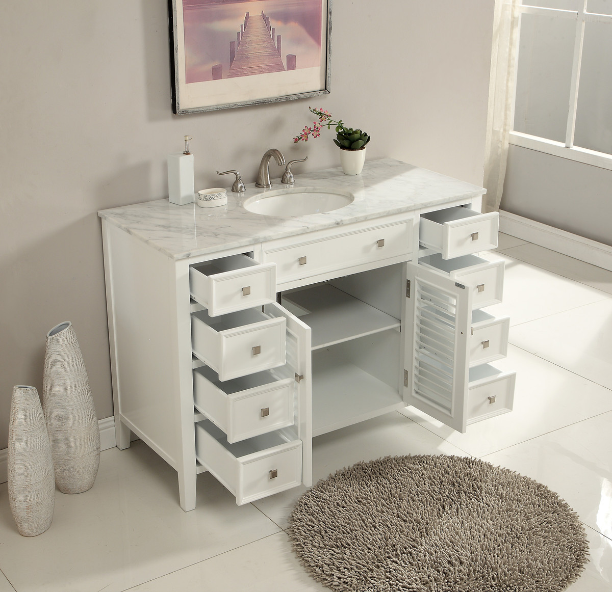 48 Inch Bathroom Vanity Coastal Cottage Beach Style Pure White Color Wx21 Dx35 H S112848wk
