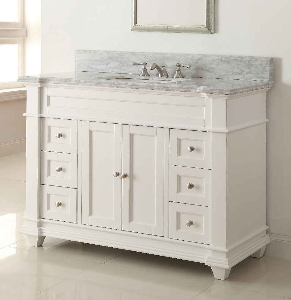 48 Inch White Shaker Bathroom Vanity Cottage Beach Style Carrara Marble Top  Wx22 Dx36 H CHF084
