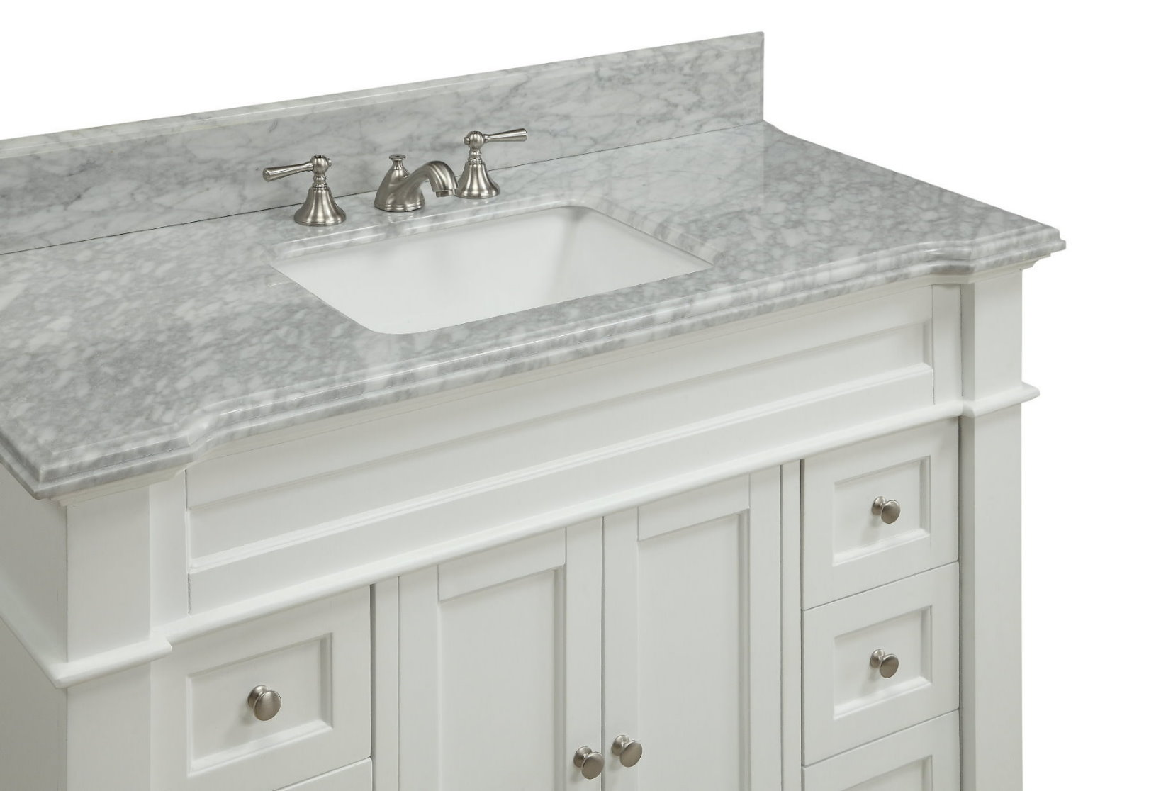 "48 inch White Shaker Bathroom Vanity Cottage Beach Style Carrara Marble Top 48""Wx22""Dx36""H CHF084"