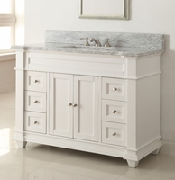 "48 inch White Shaker Bathroom Vanity Cottage Beach Style Carrara Marble Top (48""Wx22""Dx36""H) CHF084"