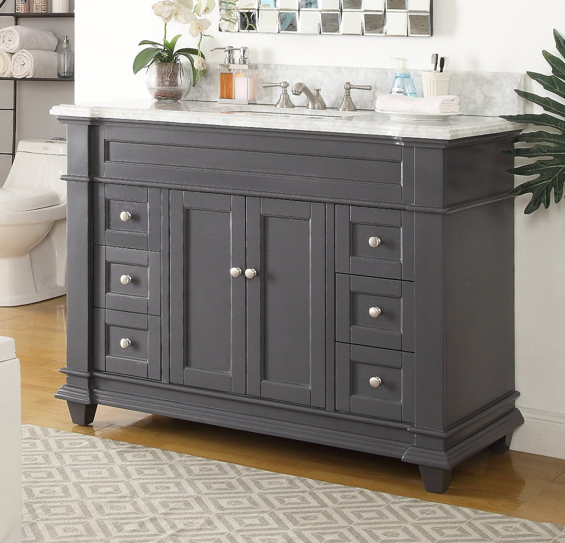 48 inch Shaker Deep Grey Single Sink bathroom Vanity Gray ...