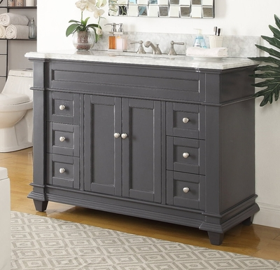 48 inch Shaker Deep Gray Single Sink bathroom Vanity ...