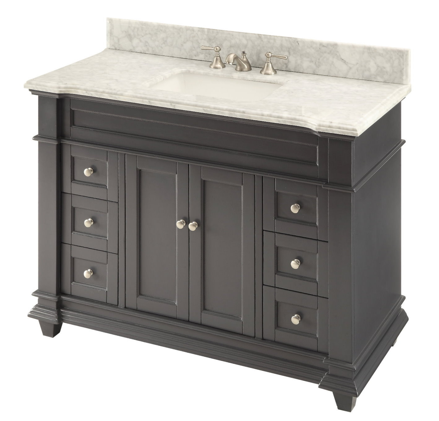 48 Inch Shaker Deep Grey Single Sink Bathroom Vanity Gray