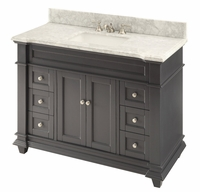"48 inch Shaker Deep Grey Single Sink bathroom Vanity Gray Color Gray Top (48""Wx22""Dx36""H) CHF1084CK"