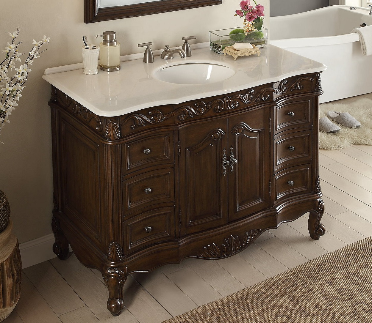 48 inch bathroom vanity traditional style dark brown color 48 wx22 dx35h csw3882wtk48 for Traditional style bathroom vanities