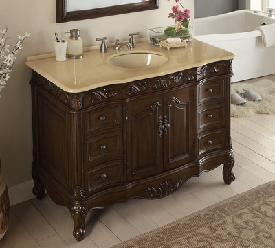 "48 inch Bathroom Vanity Traditional Style Dark Brown Color (48""Wx22""Dx35""H) CSW3882MTK48"