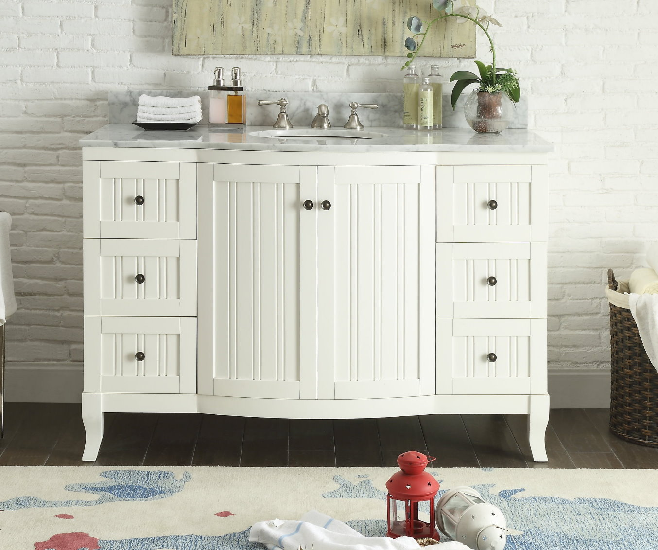 "49 inch Bathroom Vanity Cottage Beach Style Beadboard White (49""Wx23""Dx34""H) CC9717W"