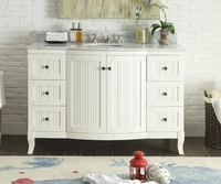 "49 inch Bathroom Vanity Cottage Beach House Beadboard White (49""Wx23""Dx34""H) CC9717W"