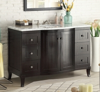 "49 inch Bathroom Vanity Cottage Beach Style Beadboard Espresso Color (49""Wx23""Dx34""H) CV19717C"