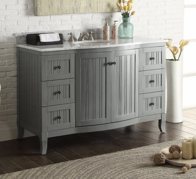 "49 inch Beadboard Gray Cottage Bathroom Vanity Carrara Marble Top (49""Wx23""Dx34""H) CC9717CK"