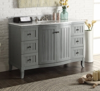 "49 inch Beadboard Grey Cottage Bathroom Vanity Carrara Marble Top (49""Wx23""Dx34""H) CC9717CK"