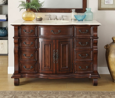 50 inch Bathroom Vanity Single Sink Brown Base Cream Marble Top
