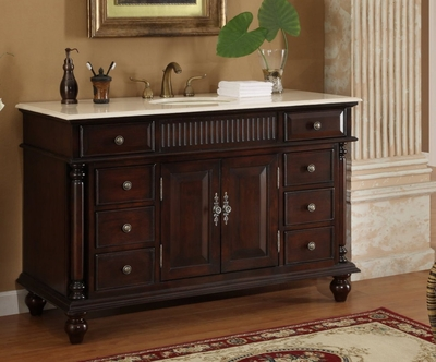 53 inch Bathroom Vanity Single Sink Mahogany Base Cream Marble Top