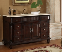 53 inch Bathroom Vanity Single Sink Mahogany Base Cream Marble Top CK2261M