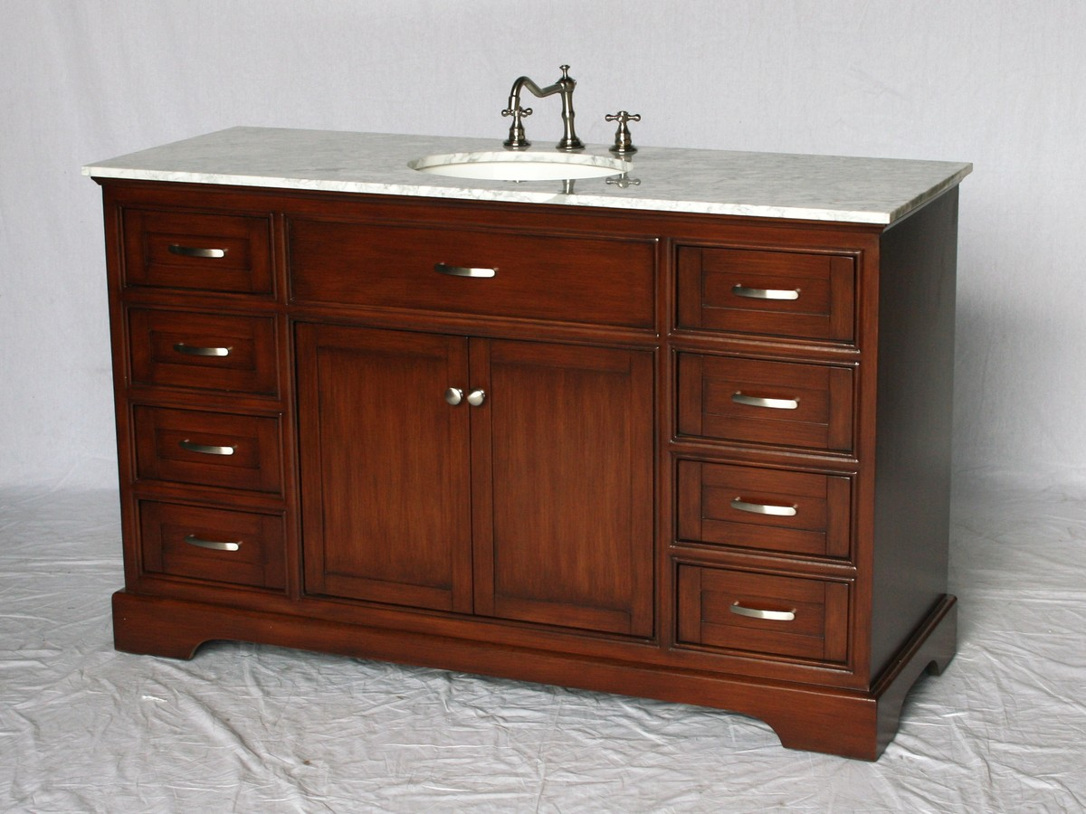 56 inch Single Sink Bathroom Vanity Shaker Style Brown ...