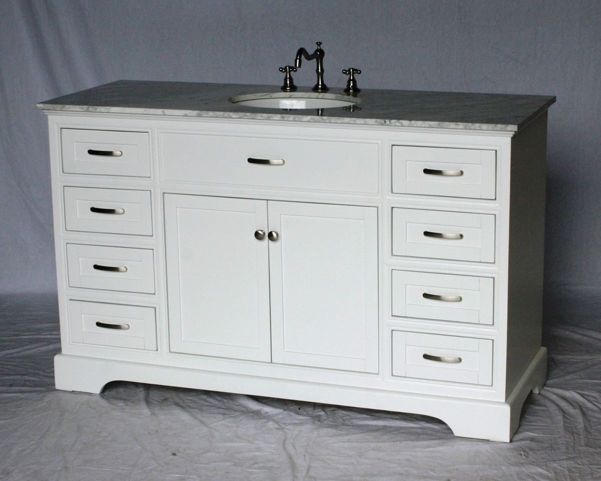 56 Inch Single Sink Bathroom Vanity Shaker Style White