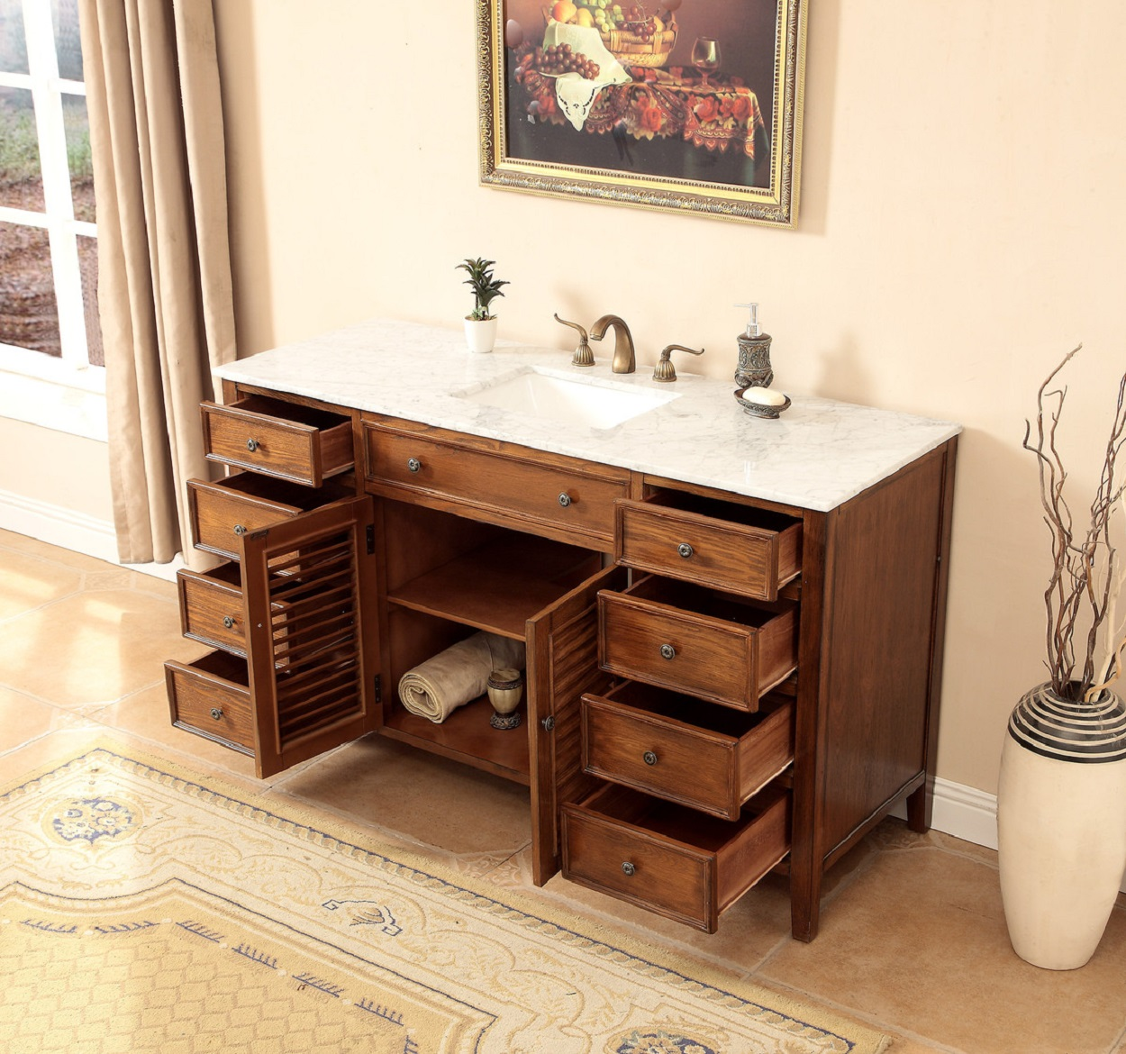 58 Inch Bathroom Vanity Coastal Cottage Beach Style Medium Brown Color 58 Quot Wx21 Quot Dx36 Quot H S112858sk