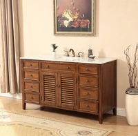 "58 inch Bathroom Vanity Coastal Cottage Beach Style Medium Brown Color (58""Wx21""Dx36""H) S112858SK"