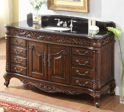 "60 inch Bathroom Vanity Traditional Rich Cherry Cabinet Black Top (60.5x22.25x35""H) CHF2GT60"