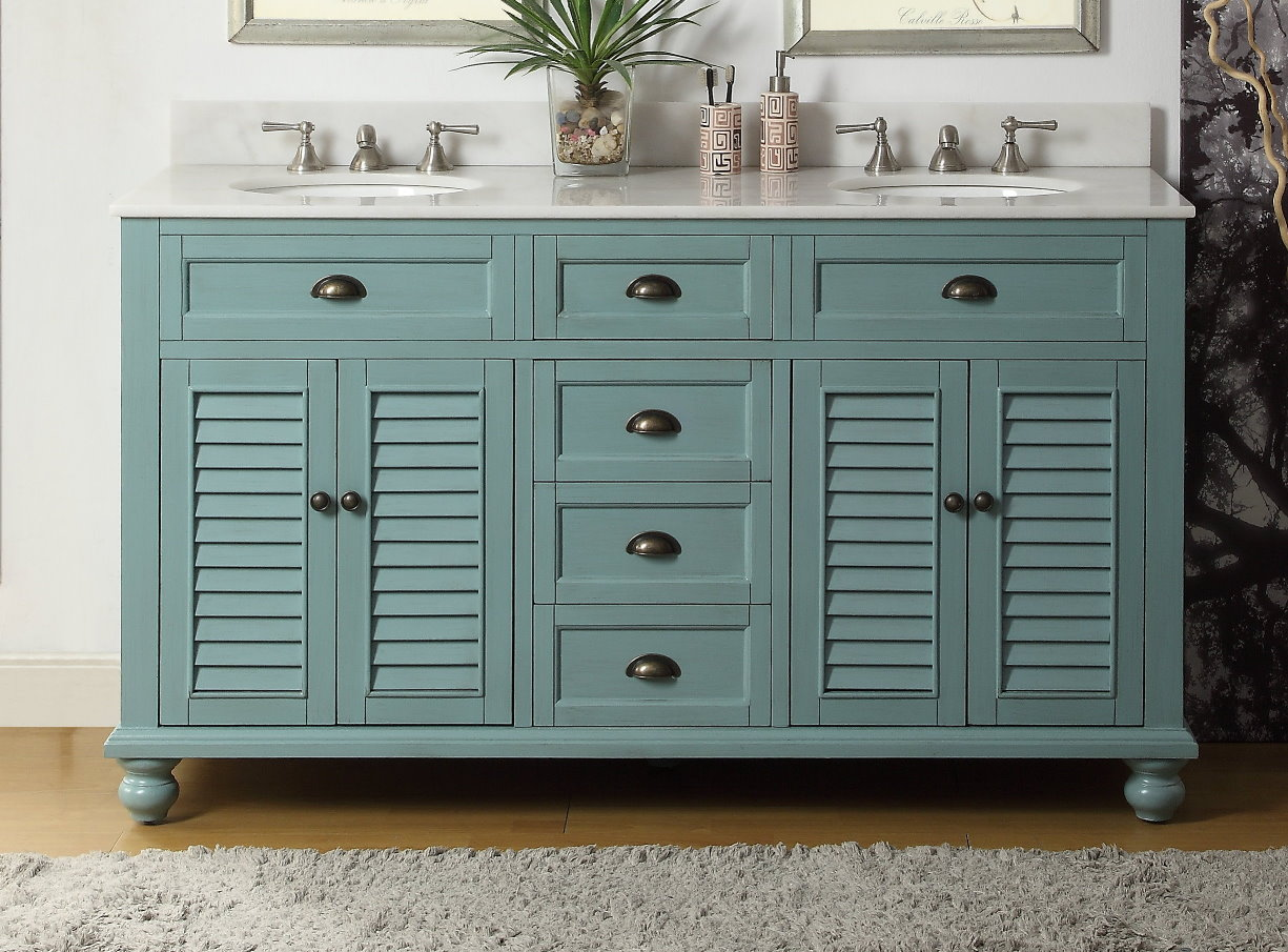 62 inch Bathroom Vanity Coastal Cottage Beach Style Aqua Blue Color 62\u0026quot;Wx22\u0026quot;Dx36H CGD21888BU