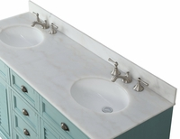 "62 inch Bathroom Vanity Coastal Cottage Beach Style Aqua Blue Color (61.75""Wx22""Dx36""H) CGD21888BU"
