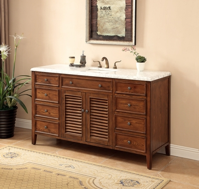 "60 inch Bathroom Vanity Coastal Cottage Beach Style Medium Brown Color (60""Wx21""Dx35""H) S332860SA"