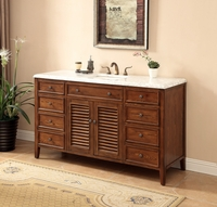 "60 inch Bathroom Vanity Coastal Cottage Beach Style Walnut Color (60""Wx21""Dx35""H) S332860SA"
