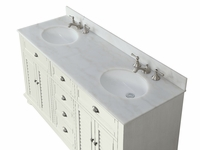 "62 inch Bathroom Vanity Cottage Beach Style Snow White Color (62""Wx22""Dx36""H) CGD21333"