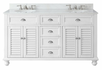 "62 inch Bathroom Vanity Cottage Beach Style Snow White Color (61.75""Wx22""Dx36""H) CGD21333"