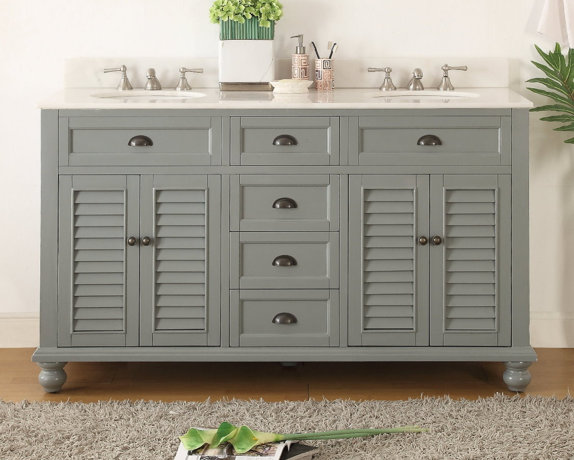 62 inch Bathroom Vanity Cottage Beach Style Snow Gray Color 62\u0026quot;Wx22\u0026quot;Dx36H CGD21999CK