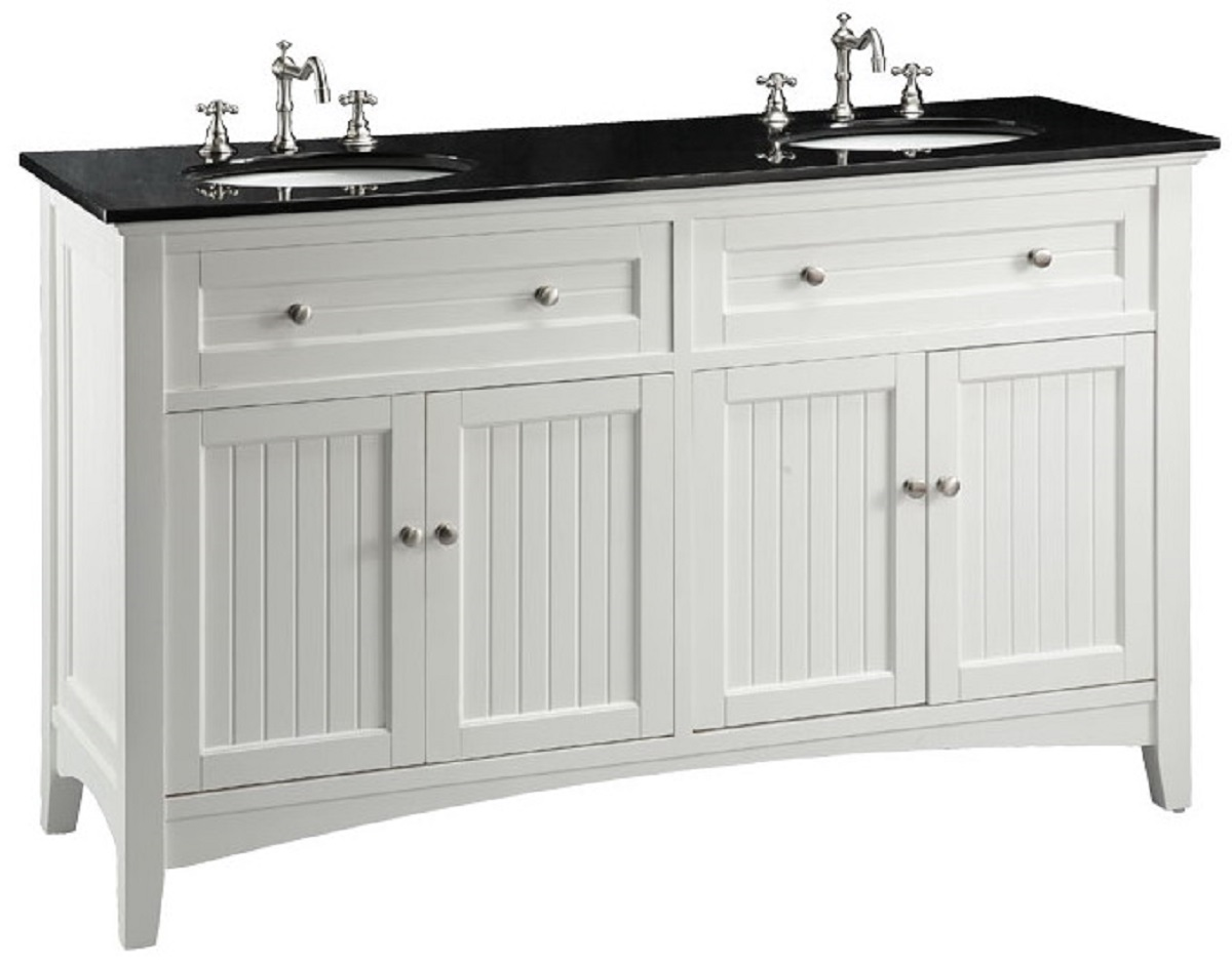 60 Inch White Beadboard Bathroom Vanity With Black Galaxy Granite Top Wx21 Dx37 H Ccf47530